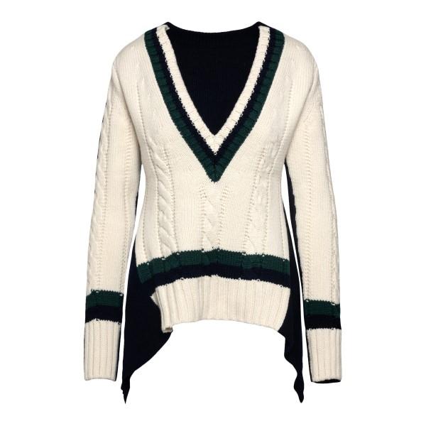 Maglione bicolore con drappeggio                                                                                                                      Sacai 2105671 retro