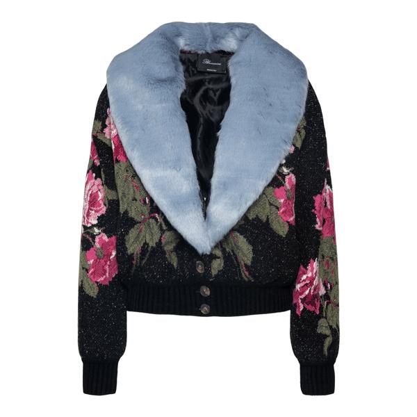 Black floral cardigan with fur collar                                                                                                                 Blumarine 2B008A back