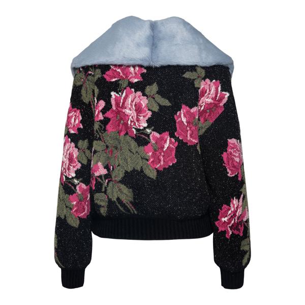 Black floral cardigan with fur collar                                                                                                                  BLUMARINE