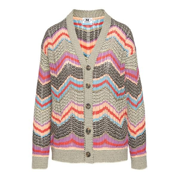 Cardigan multicolore con pattern geometrico                                                                                                           M Missoni 2DM00158 retro