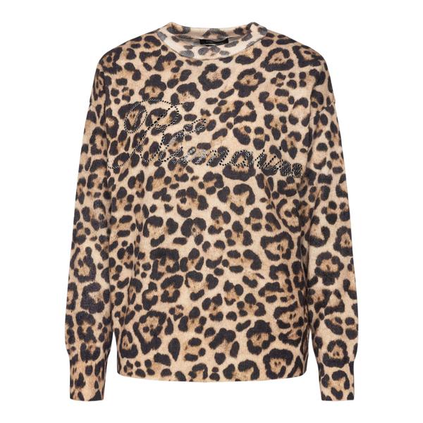 Animalier sweater with rhinestone brand name                                                                                                          Blumarine 2M025A back
