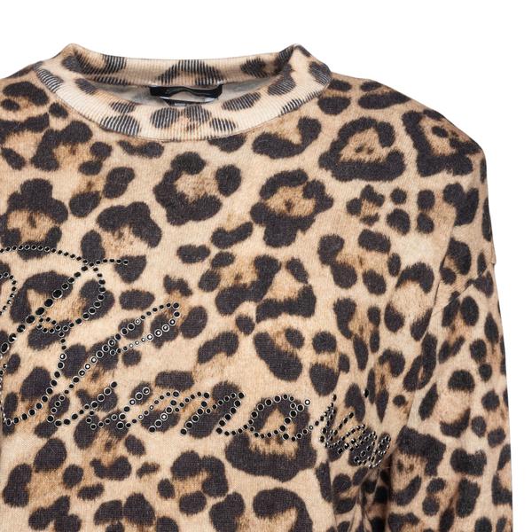 Animalier sweater with rhinestone brand name                                                                                                           BLUMARINE