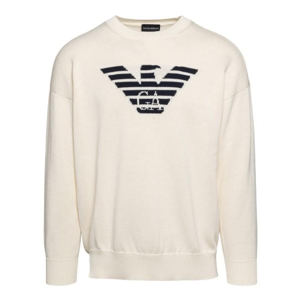 Ivory sweater with logo                                                                                                                               Emporio Armani 3K1MTA back