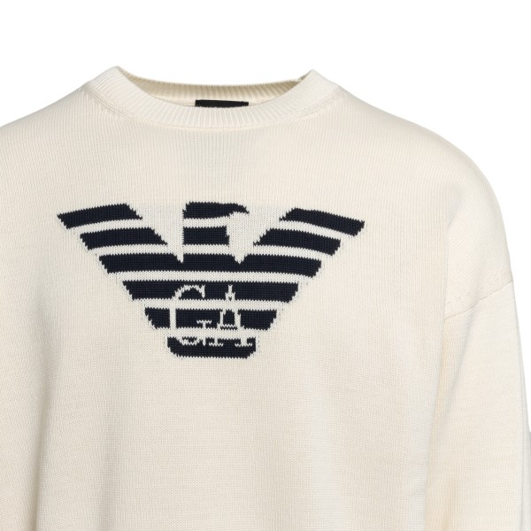 Ivory sweater with logo                                                                                                                                EMPORIO ARMANI