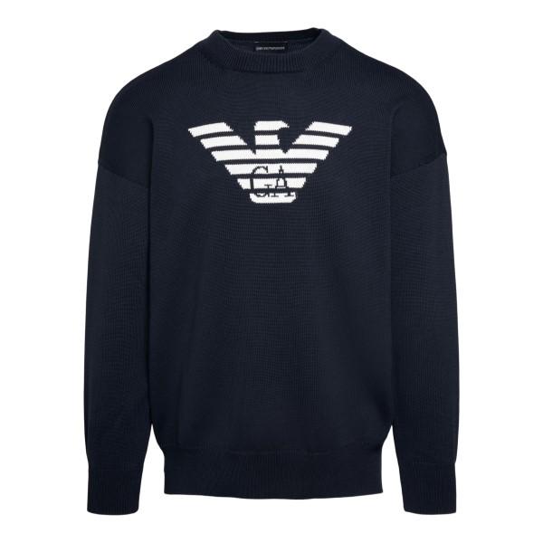 Maglione blu con logo                                                                                                                                 Emporio Armani 3K1MTA retro