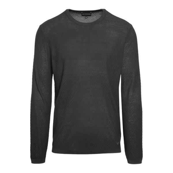 Maglione grigio a righe sottili                                                                                                                       Emporio Armani 3K1MY6 retro