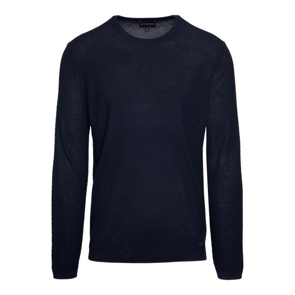 Maglione blu a righe sottili                                                                                                                          Emporio Armani 3K1MY6 retro