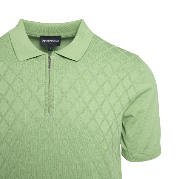 Pastel green diamond polo shirt                                                                                                                        EMPORIO ARMANI