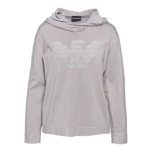 Grey sweatshirt with logo print                                                                                                                       Emporio Armani 3K2MT3 back