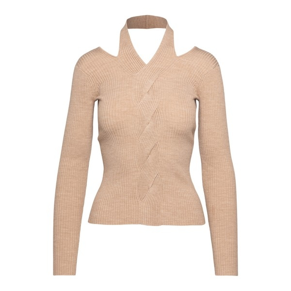 Beige sweater with cut-out detail at the neck                                                                                                         Jonathan simkhai 5202004K front