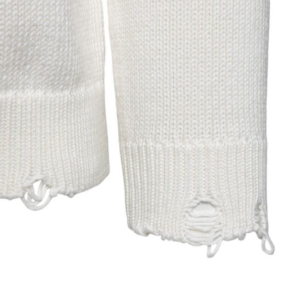 Maglione bianco con effetto vissuto                                                                                                                    SAINT LAURENT                                      SAINT LAURENT