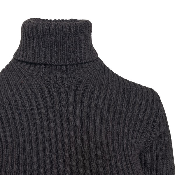 Brown roll-neck ribbed jumper                                                                                                                          BOTTEGA VENETA