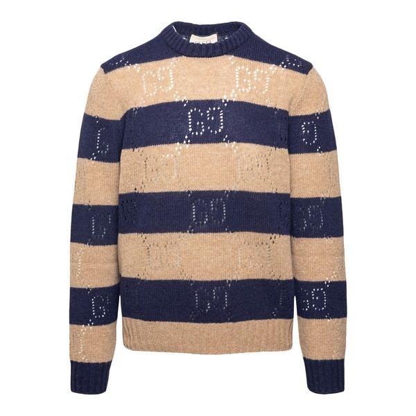Maglione blu e beige a righe                                                                                                                          Gucci 645293 fronte
