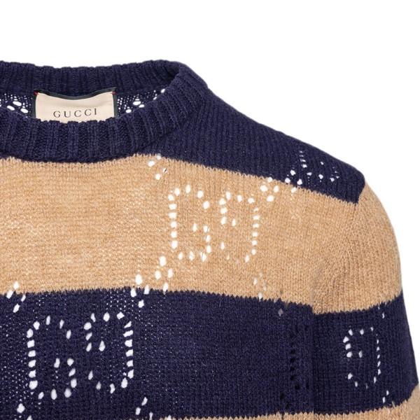 Blue and beige striped sweater                                                                                                                         GUCCI
