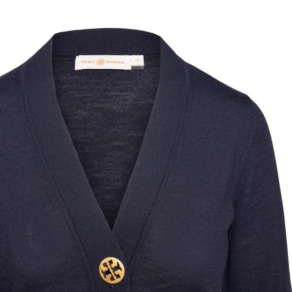 Blue cardigan with golden buttons                                                                                                                     Tory burch 64676 front