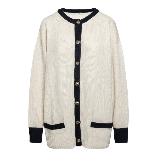 White cardigan with contrasting trim                                                                                                                  Saint laurent 648449 front