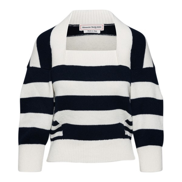 Black and white striped sweater                                                                                                                       Alexander mcqueen 650314 front