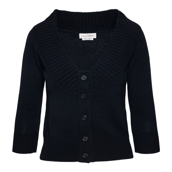 Black crop cardigan with wide neckline                                                                                                                Alexander mcqueen 650364 front