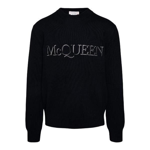 Maglione nero con ricamo logo                                                                                                                         Alexander mcqueen 651184 fronte