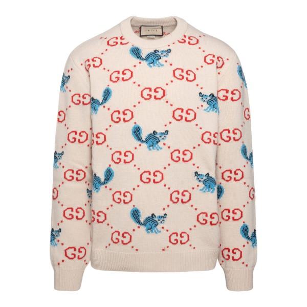 Maglione avorio con pattern logo                                                                                                                      Gucci 661836 retro