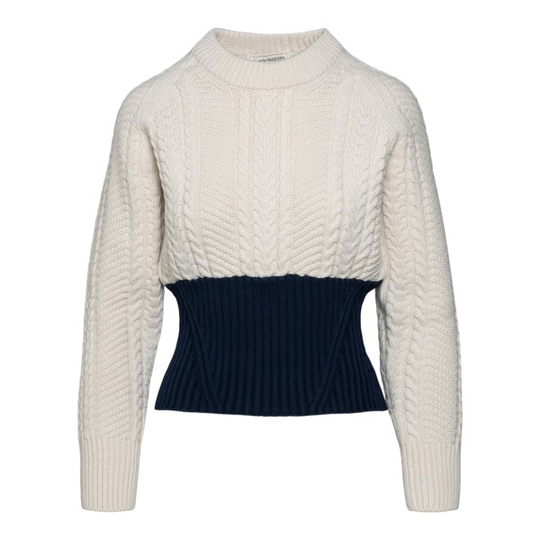 Two-tone knitted sweater                                                                                                                               ALEXANDER MCQUEEN