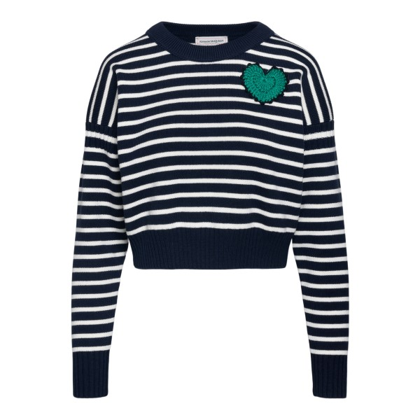 Striped sweater with heart embroidery                                                                                                                  ALEXANDER MCQUEEN