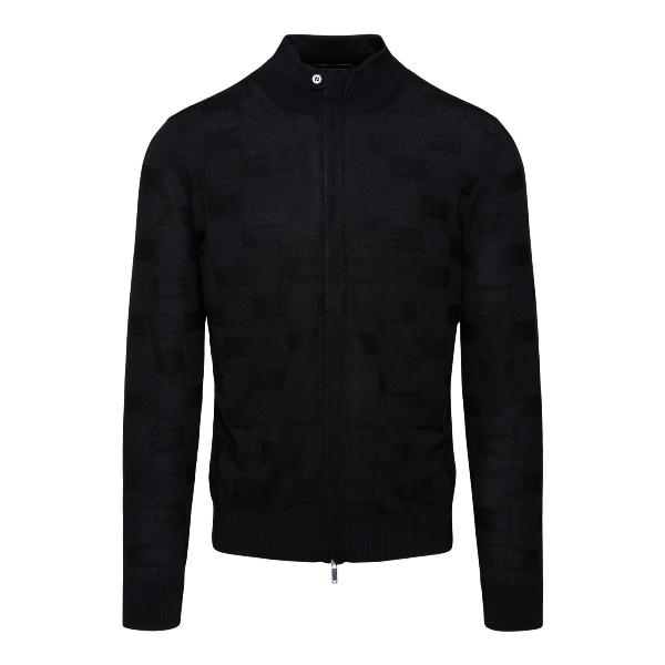 Black sweater with checked texture                                                                                                                     EMPORIO ARMANI
