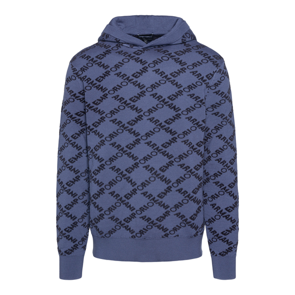 Blue sweater with logo pattern                                                                                                                        Emporio Armani 6K1MT9 back