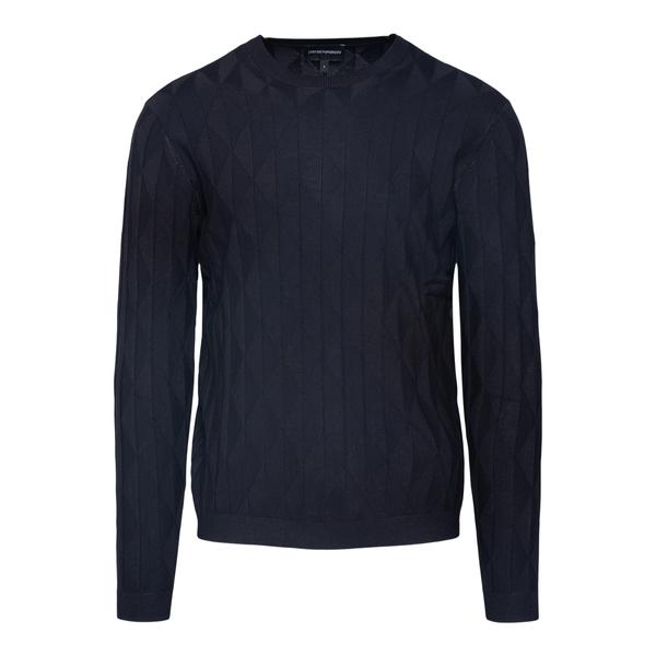 Maglione blu con pattern geometrico                                                                                                                   Emporio Armani 6K1MXE retro
