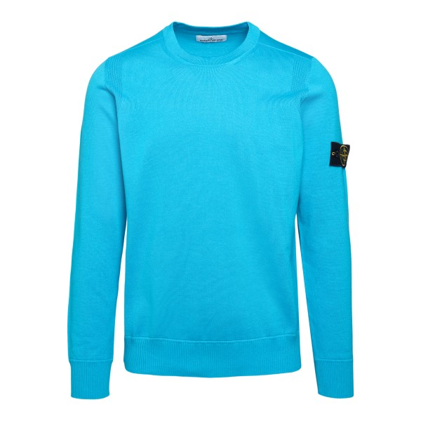 Light blue sweater with logo patch                                                                                                                    Stone Island 7415504 back