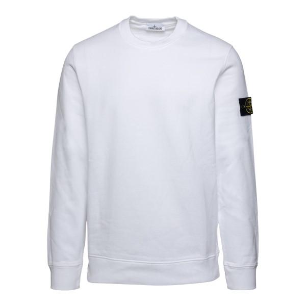 Felpa girocollo bianca con patch logo                                                                                                                 Stone Island 7515630 retro