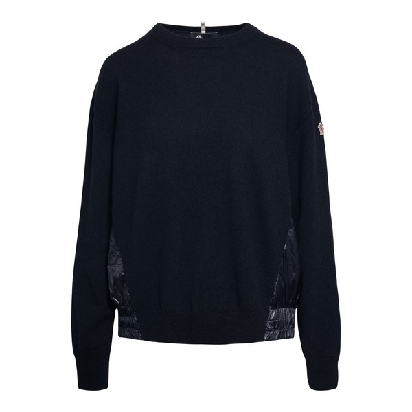 Black sweater with padded details                                                                                                                     Moncler grenoble 9C71000 front