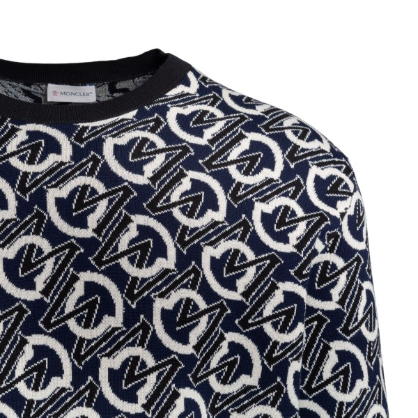 Blue sweater with all-over logo                                                                                                                        MONCLER