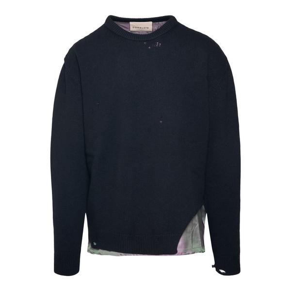 Pullover nero con dettagli cangianti                                                                                                                  Corelate A20354 fronte