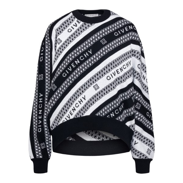 Two-tone sweater with logo embroidery                                                                                                                 Givenchy BW90CE front
