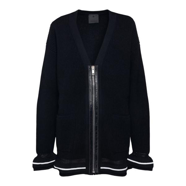Cardigan nero con ricamo nome brand                                                                                                                   Givenchy BW90CQ retro