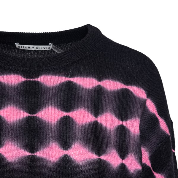 Maglione nero con dettagli rosa                                                                                                                        ALICE+OLIVIA                                       ALICE+OLIVIA