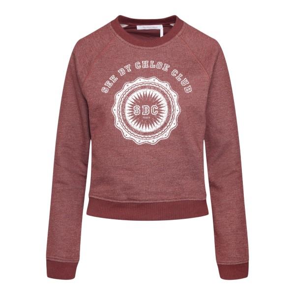 Felpa rosso bordeaux con nome brand                                                                                                                   See By Chloe CHS21AJH11 retro