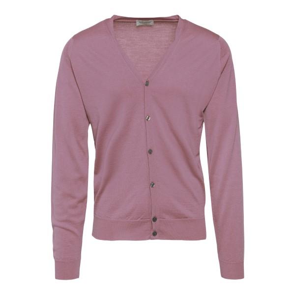 Light powder pink cardigan                                                                                                                            John Smedley CPETWORTH back