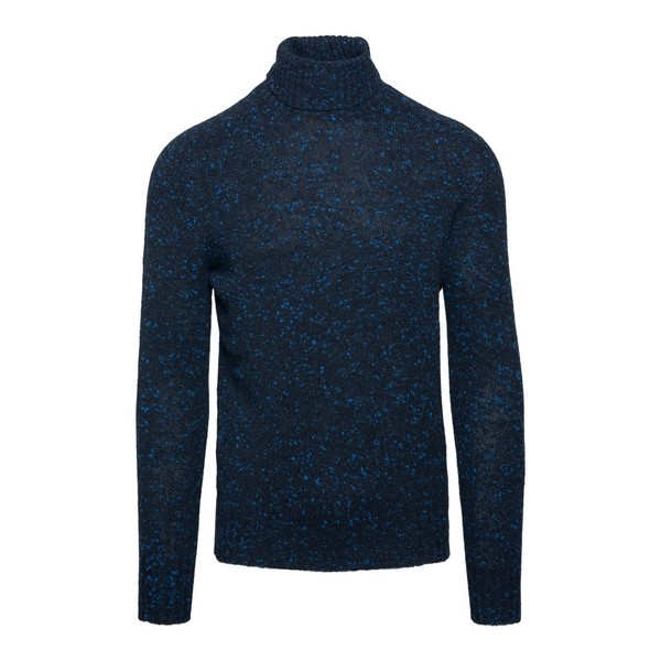 Blue turtleneck pullover with dots pattern                                                                                                            Drumohr D5SH104N front