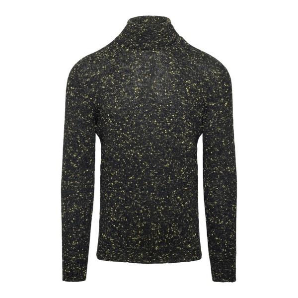 Black turtleneck pullover with dots pattern                                                                                                           Drumohr D5SH104N front