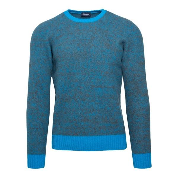 Pullover azzurro con trama melange                                                                                                                    Drumohr D8W103MG fronte