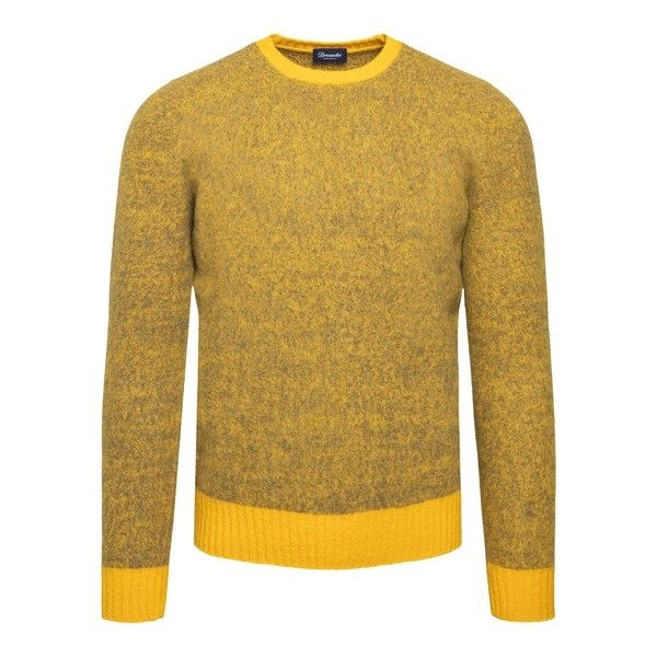 Yellow pullover with melange pattern                                                                                                                  Drumohr D8W103MG front