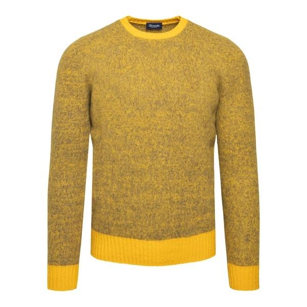 Pullover giallo con trama melange                                                                                                                     Drumohr D8W103MG fronte