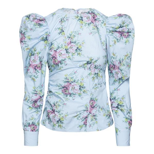 Blusa azzurra a fiori con arricciature                                                                                                                Ganni F6373 retro