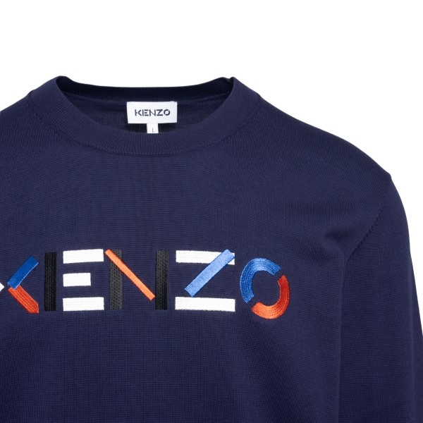 Blue sweater with embroidered logo                                                                                                                     KENZO