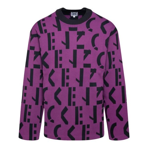 Maglione viola con pattern logo                                                                                                                       Kenzo FB65PU637 retro