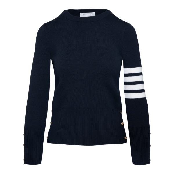 Blue sweater with striped detail                                                                                                                      Thom Browne FKA239A back