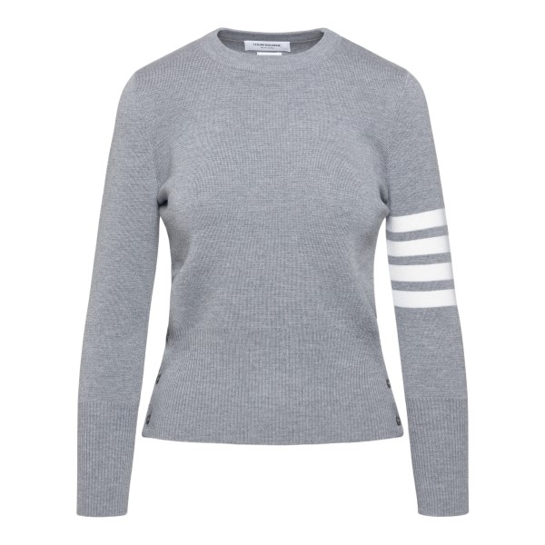 Grey sweater with striped detail                                                                                                                      Thom Browne FKA239A back