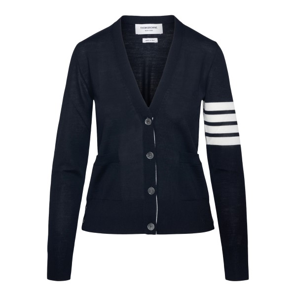 Blue cardigan with striped detail                                                                                                                     Thom Browne FKC334A back